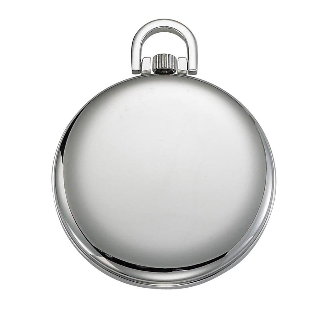 Gotham Men's Silver-Tone Slim Railroad 24 Hour Open Face Quartz Pocket Watch # GWC15029S by Gotham (Image #3)