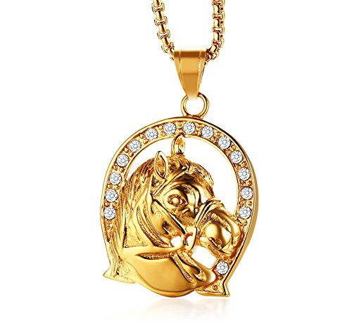 MP Stainless Steel Gold Plated Rhinestone Horseshoe Horse Head Lucky Spirit Pendant Necklace for Men (Spirit Rainbow Horse)