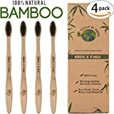 4 Pack Charcoal Toothbrush Slim Teeth Head Whitening Brush for Adults & Children - Medium Tip Bristles