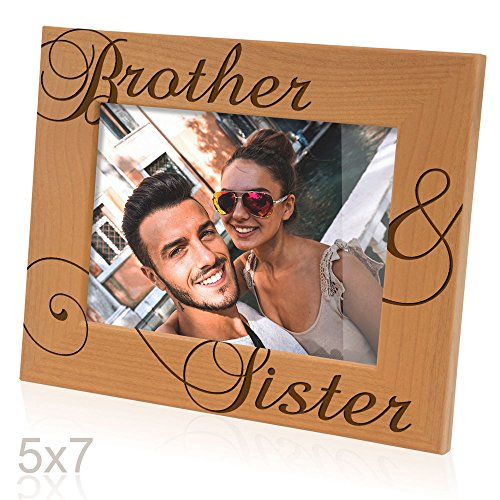 Kate Posh - Brother & Sister Engraved Natural Wood Picture Frame, Siblings Gifts, Wedding Gifts, Little Sister, Little Brother, Big Sister, Big Brother (5x7-Horizontal)