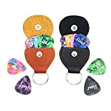 Leather Pick Holder Keychain Plectrum Cases Bag - 2 Pack Guitar Picks Holder Case with 12 Guitar Picks [4Pcs Thin / 4Pcs Medium / 4Pcs Heavy]