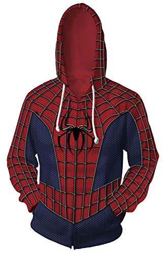 Riekinc Superhero Halloween Cosplay Costume Mens Hoodie Jacket (Male-X-Large, Red/Blue) -