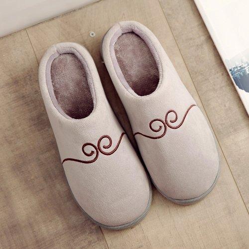 Chambre antiglisse hiver au L'hiver chaleureux chaussures chaud l'hiver moelleux Gray Chaussons en Chaussons Accueil Chaussons LaxBa FOqC17xwC