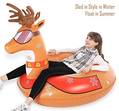 Jasonwell Snow Tube - 47 Inch Inflatable Snow Sled Snow Toys for Kids and Adults Heavy Duty Reindeer Inflatable Snow Tube Winter Outdoor Toys for Kids and Adults