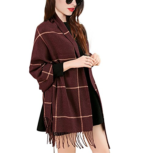 Soft and Warm Wool Lattice Scarf with Tassel, Long Grid Shawl for Men and Women in Spring,Autumn,Winter (Wine Red)
