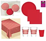 Picnic Party Supplies Pack Red Gingham Camping RV Accessories Flannel Backed Vinyl Tablecover Hanging Lanterns Plates Napkins And Cups