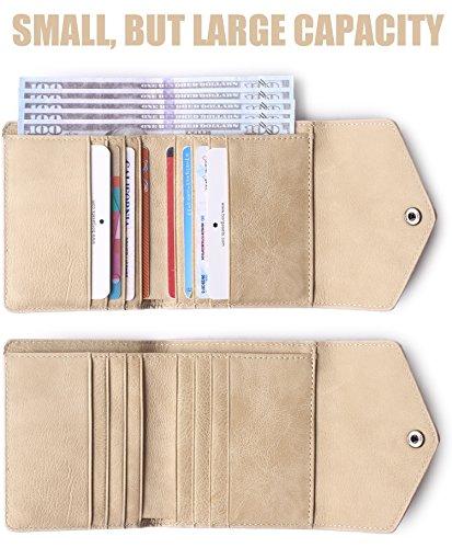 Small Pocket Ladies Mini Rfid Purse Vintage Women's Blocking Apricot Wallet Leather Bifold RBqWEqgw1x