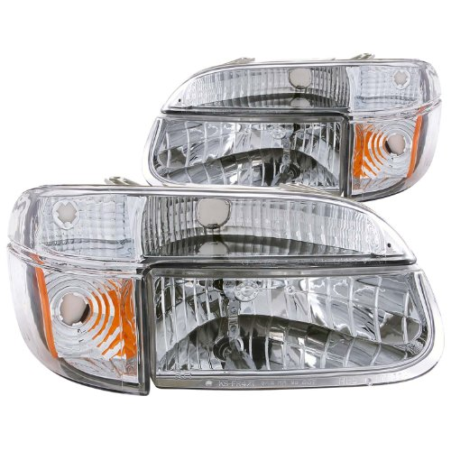 Ford Explorer Chrome Headlight - Anzo USA 111040 Ford Explorer Crystal with Amber Corner Chrome Headlight Assembly - (Sold in Pairs)