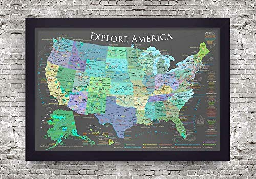 Star Stick Pin - National Parks Map - Explore America Map - Small Framed Map - Slate Edition - USA Travel Push Pin Map