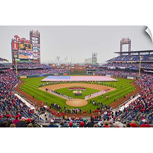 CANVAS ON DEMAND Panoramic Images Wall Peel Wall Art Print Entitled Opening Day Ceremony Featuring Large American Flag in Centerfield, Citizen Bank Park 18