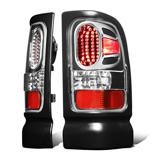 Dodge Ram 1500-3500 Pair of Black Housing Clear Lens Diamond Cut LED Tail Lights (Diamond Cut Clear Corners)