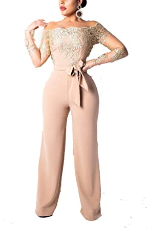 ccacec2c113 Amazon.com  Sexy Club Jumpsuits for Women 2019 - Floral Lace Off Shoulder  Long Sleeve Wide Leg Pants Long Jumpsuits Rompers Outfits  Clothing