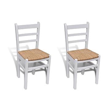 vidaXL Sillas Blancas de Madera para Comedor - 2 Piezas