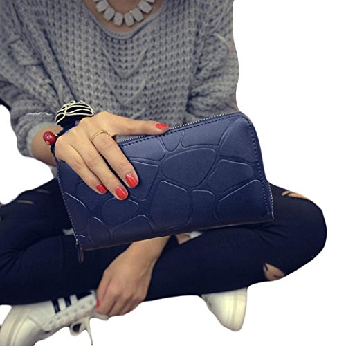 Hot Lady Long Clutch PU 2016 Wallet Leather FEITONG Blue Girls Card by dCqaw5x75