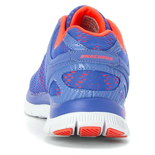 Skechers Flex AppealFirst Glance, Women's Low-Top Sneakers Periwinkle Mesh/Pink Trim