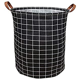 BOOHIT Cotton Fabric Storage Bin,Collapsible Laundry Basket-Waterproof Large Storage Baskets,Toy Organizer,Home Decor(Black Plaid)