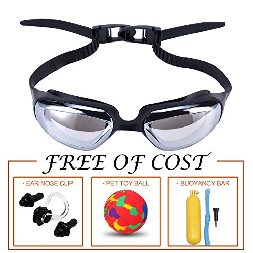 Mirrored Swimming Goggles, Comfortable and Stylish Swim Glasses with Anti Fog and UV Protection for Adults and Kids, Free Nose Clip Earplugs and pet toys (black)