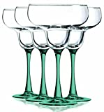 Aqua Margarita Glasses with Beautiful Colored Stem Accent - 14.5 oz. set of 4- Additional Vibrant Colors Available by TableTop King