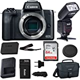 Canon EOS M50 Mirrorless Digital Camera Body (Black) with Bounce Zoom Swivel TTL Flash and 64GB Bundle