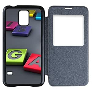 Galaxy S5 Case,Popular Convenient Answer Incoming Calls View Time Table Talk Caller Id Window Life Is A Game Pattern Flip Case Cover