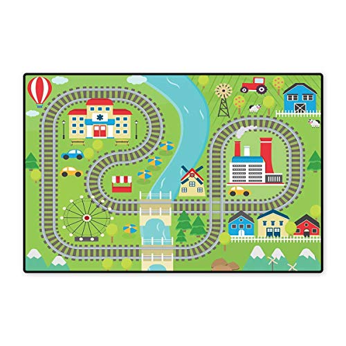 Kids Activity Bath Mats for Floors Country Community Themed Activity Filled Town Amusement Park Farm Hospital Customize Door mats for Home Mat 24