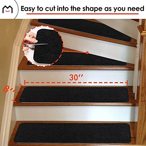 Brown MATAHUM Stair Treads Carpect Non-Slip for Runner Wood Stairs Covers 8X30 15-Pack Indoor for Dogs Elders and Kids