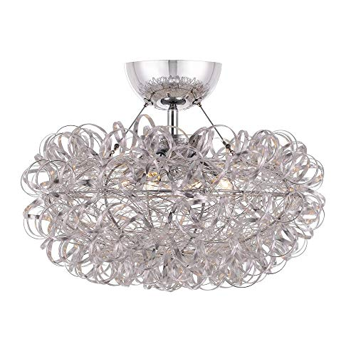 Quoizel PCPG1716C Pageant Crinkled Metal Ribbon Semi Flush Mount Ceiling Lighting, 3-Light, Xenon 120 Watts, Polished Chrome (11