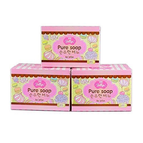 3 Bars Jellys Pure Soap Whitening Soap Vitamin E White Aura Reduce Dark Spot Anti -