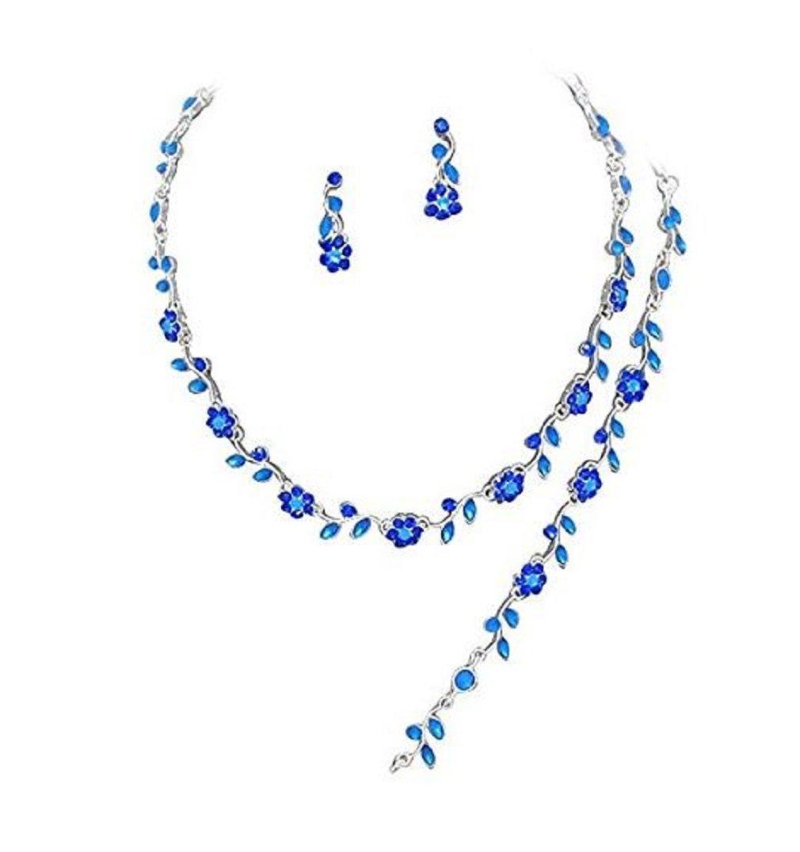 Sapphire Blue Crystal 3 PCS Set Silver Necklace Bracelet Earring Bridal Formal Prom Pageant