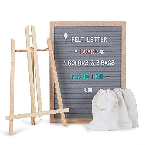 Changeable Felt Letter Board Sign 12 x 16 - Gray Message Board Set with 678 Letters, Number, Symbols, Oak Wooden Frame, Tripod Stand, Wall Mount,& Free Storage Bag Perfect Gift by OfficeWinner