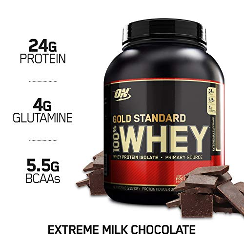 OPTIMUM NUTRITION GOLD STANDARD 100% Whey Protein Powder, Extreme Milk Chocolate, 5 Pound ()