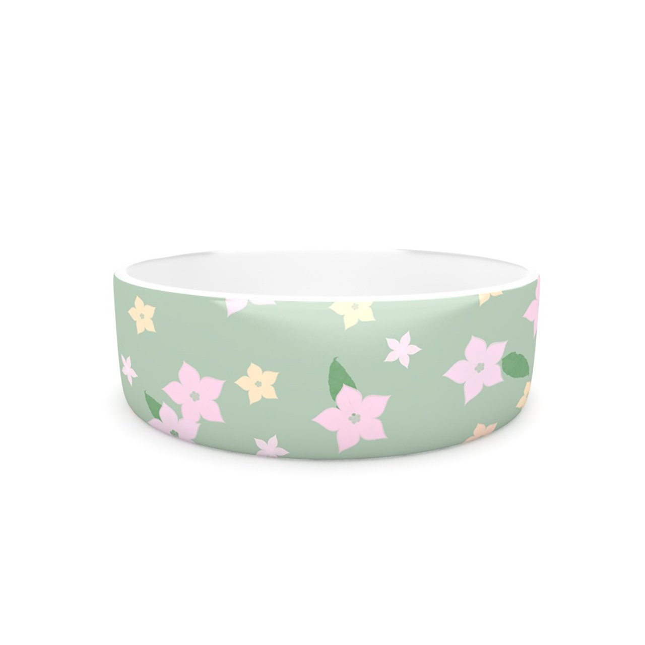 Kess InHouse KESS Original Spring Floral  Pet Bowl, 7-Inch, Green Pink