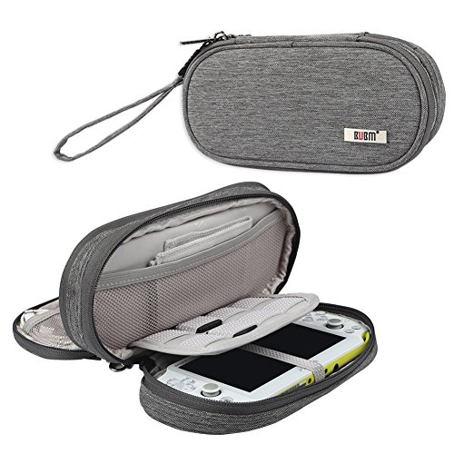 BUBM Double Compartment Storage Case for PS Vita, Protective Carrying bag, Portable Travel Organizer Case for PSV and Other Accessories,Gray