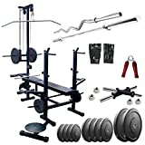 IFit 20 IN 1 Bench With 20Kg Weight 3FT Zigzag 5FT Streight Rods For Gym Exercises