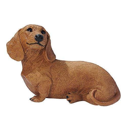 Dachshund Garden - Design Toscano Brown Dachshund Puppy Dog Statue, Multicolored
