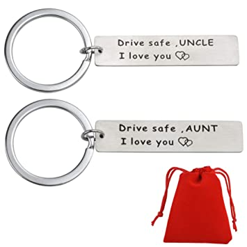 Drive Safe Keychains Set, I Love You Keychain for Husband Wife Boyfriend  Girlfriend Mom Dad Grandpa Grandma Uncle Aunt Sister Brother Valentines Day