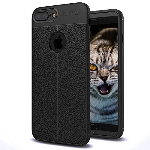 iPhone 7 Plus Case, iPhone 8 Plus Case, Premium PU Leather Slim Fit Soft TPU Bumper Cover, Anti-Scratch Shock Proof Drop Resist Full Protection Case for Apple iPhone 7/8 Plus - Black