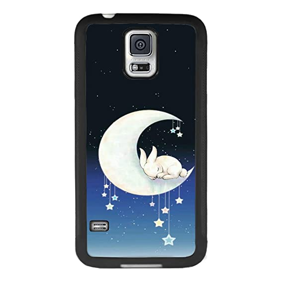 buy online 27e0d 3d2f5 Amazon.com: Samsung Galaxy S5 case Rabbit Lay The Moon Full Body ...