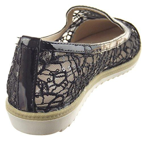 Sopily - damen Mode Schuhe Ballerina glänzende Spitze - Schwarz