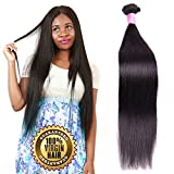 (US) 10A Unprocessed Human Hair Bundles Silky Straight Raw Brazilian Remy Hair extensions Best Indian Virgin Hair Weave Cheap Peruvian Natural Black Color Real Malaysian Hair Weft One bundle 100g 24 Inch