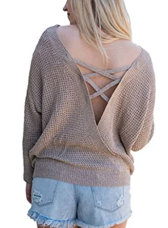 Asvivid Women's Autumn Solid Round Neck Criss Cross Hollow Out Back Baggy Pullover Sweater Tops Small Khaki