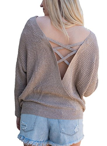 Asvivid Women's Autumn Solid Round Neck Criss Cross Hollow Out Back Baggy...