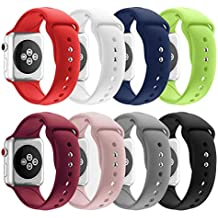 SHJD Band Replacement Set Compatible with Apple Watch 38mm 40mm 42mm 44mm, Soft Silicone Sport Smart Strap Pack for iWatch Series 1/2/3/4 S/M M/L
