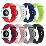 SHJD Band Replacement Compatible Apple Watch 38mm 42mm, Soft Silicone Sport Smart Strap for iWatch Series 1/2/3 S/M M/L (8 Pack, 38mm S/M)