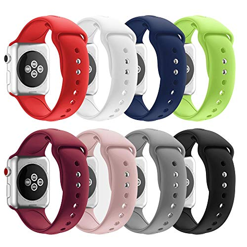SHJD Band Replacement Set Compatible with Apple Watch 38mm 40mm 42mm 44mm, Soft Silicone Sport Smart Strap Pack for iWatch Series 1/2/3/4 S/M M/L(8 Pack, 38mm M/L)