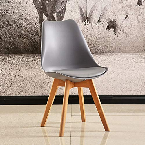 (Tulip Chair Plastic Wood Retro Dining Chairs White Black Grey Red Yellow Green Blue Orange (Color : Gray))