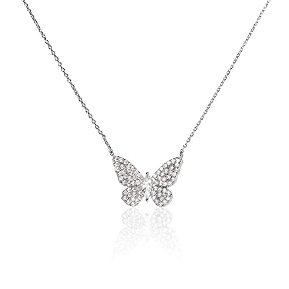 "Evelyn Lozada Women's Signature Butterfly Gold Plated 17"" Necklace With Swarovski Pavé Crystal Pendant by Evelyn Lozada"