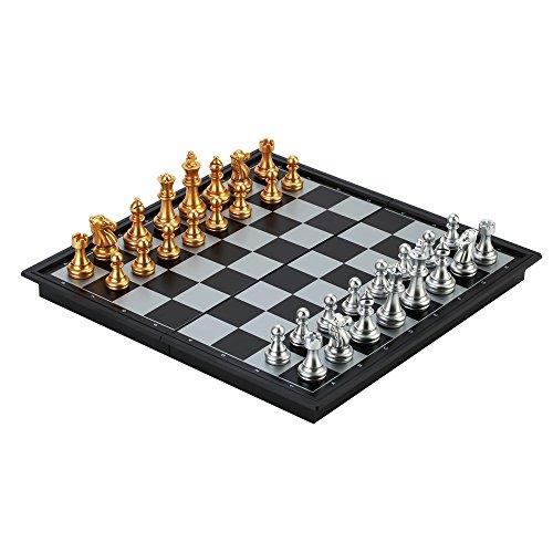 Reise - Schachspiel LOMATEE magnetisch Schachspiel Chess aus Kunststoff für Kinder 25x25cm mit faltbarem Schachbrett & Schachfiguren für unterwegs Reise Camping
