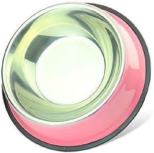 CWWAN Pet Bowl Non-Slip Stainless Steel Dog Bowl cat Bowl Food Bowl Basin Single Bowl (Pink)