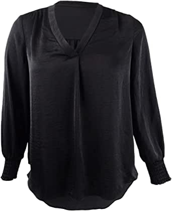 Alfani Womens Smocked V-Neck Pullover Top